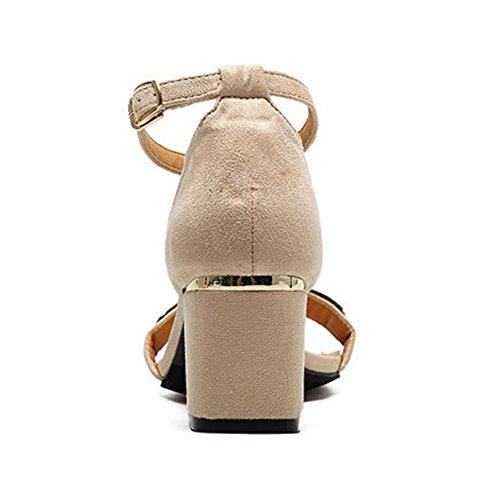 Donne Sandali Strap Tacco a Zeppa Scarpe da Donna Comode Scarpe col Tacco Beige