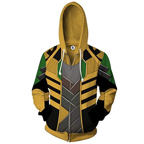 Yujingc Cosplay 3D Digital Printing Hoodie Marvel Comics The Avengers Loki Thor mit Reißverschluss-Jacken-Sweatshirt für Frauen der Männer Langarm-Oberbekleidung,Yellow,L