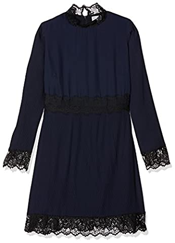 Wolf and Whistle Curve Damen Partykleid Jem Micro Pleat and Lace Long Sleeve Blau (Marineblau), 46