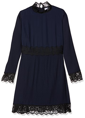 Wolf and Whistle Curve Damen Partykleid Jem Micro Pleat and Lace Long Sleeve Blau (Marineblau), (Kleid Jem)