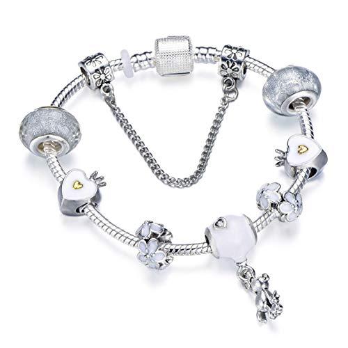 Farbe Charm Armband Für Frauen Mit Bär Anhänger & Crown Kristallkugel Fit Armband ()