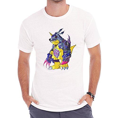 Digimon Garurumon Wolf Gabumon Angry Herren T-Shirt Weiß