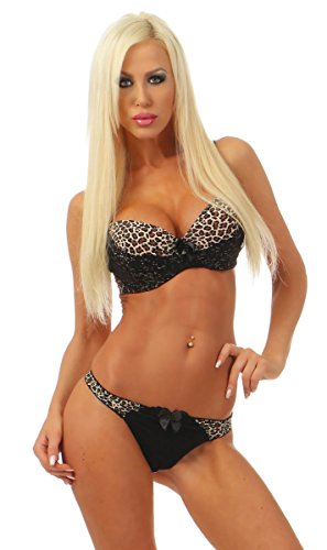 *3966 Fashion4Young Dessous-Set 2-tlg. Leo-Print Bügel-BH Push-Up Stringtanga Unterwäsche (schwarz-leo, 85B)*