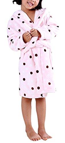 Aivtalk Robe de Chambre à Capuche Manches Longues Fond Rose Pois en Flanelle Automne Hiver pour Fille Garçon Tailles de 9-10ans 140cm