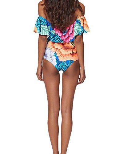 Donna Al Largo Della Spalla Un Pezzo Bikini Ruffle Top Costume Da Bagno Fiore Scuro
