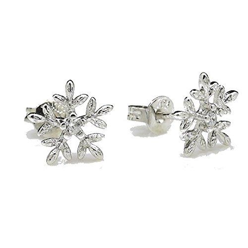 Oro bianco 18K Gp Orecchini Perno a forma di fiocchi di neve in cristalli Swarovski (Swarovski Crystal Fiocchi Di Neve)