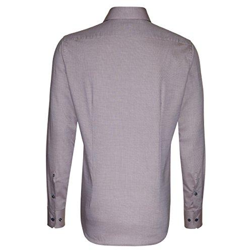 Seidensticker Herren Langarm Hemd Schwarze Rose Slim Fit braun / taupe strukturiert 243160.24 taupe uni (0024)