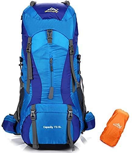 WENZHEN Herren Rucksack,70L + 5L Reiserucksack Wasserdicht Trekking Wandern Bergsteigen Klettern Camping Rucksack Mit Regenschutz Für Männer Frauen @ Blue_33 X 27 X 78 cm -