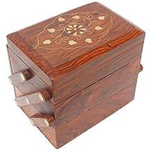 """5 """"Caja abierta de 3 compartimentos de madera, Caja de almacenamiento multiusos, Caja de pendientes, Caja de organizador de joyas, Color marrón, Día de pascua / Día de la madre / Regalo de Viernes Santo"""