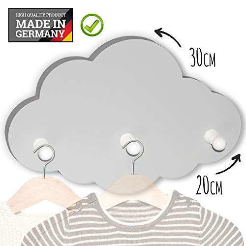 (G55) Kindergarderobe mit 3 Haken, Garderobe Kinderzimmer, Babyzimmer Wandgarderobe, Kleiderhaken, Wandhaken, Kindermöbel, Garderobenhaken Maße Wolke : 30 x 20 x 1 cm, Wolken (hellgrau)