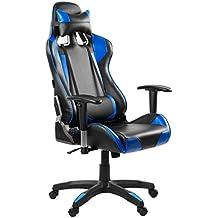 McHaus Azul Silla Gaming de Escritorio y Oficina con Respaldo Reclinable, Piel Sintética, Blue