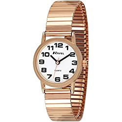 Ravel Easy Read Women's Quartz Watch with White Dial Analogue Display and Rose Gold Stainless Steel Plated Bracelet R0208.44.2