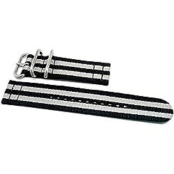 DaLuca Two Piece Ballistic Nylon NATO Watch Strap - Bond (Matte Buckle) : 20mm