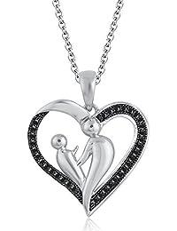 Silvernshine 18K White Gold Over Black Sim Diamond Accent Mother & Child Heart Pendant Necklace
