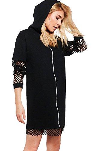 Schwarz Damen Agneta Sweatshirt-kleid Mit Kapuze Und Netzapplikation Schwarz