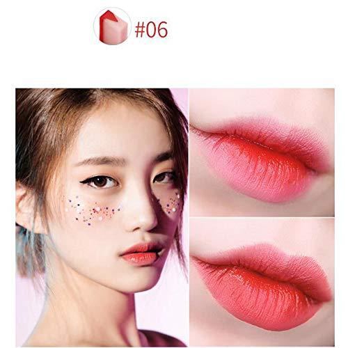 (Floweworld Lippenstift Matt Satin Lipgloss cremige Textur perlige Textur & Paillettenstruktur, Lipgloss, feuchtigkeitsspendende Textur Zweifarbiges Stereo-V-förmiges Make-up mit Lippenstift)