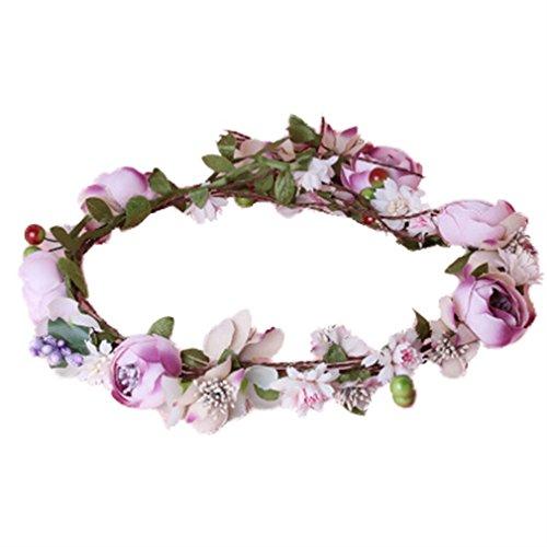 YAZILIND flor de guirnalda de ratán guirnalda de novia diadema para bodas festivales Turismo (rosa)