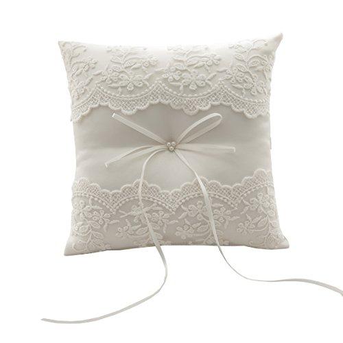 silktalk Ringkissen Romantik Hochzeit handgefertigt Satinband Bogen Beige Fliege Ring Kissen Träger Baumwollstickerei21 cm * 21 cm