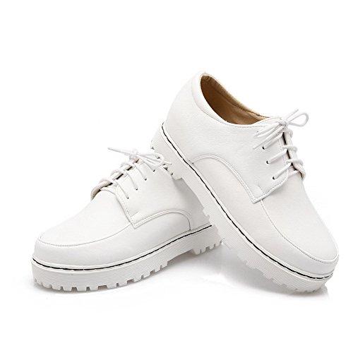 VogueZone009 Femme Rond à Talon Correct Matière Souple Couleur Unie Lacet Chaussures Légeres Blanc