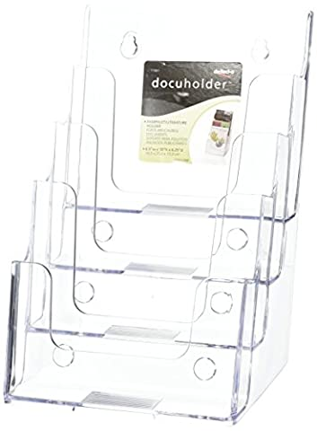 Deflecto Multi-tier Literature Display Holder for Wall or Desktop 4 x A5 Pockets Clear Ref 77901