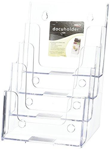 Deflectoporta-depliant a più scomparti, da parete per display o scrivania espositore porta-riviste a 4 livelli, a5 verticale 1 clear