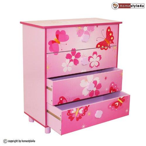 Homestyle4u 647 Kinderkommode Schmetterling Blumen, Kinderschrank mit 4 Schubladen für Kinderzimmer, Holz Pink Rosa