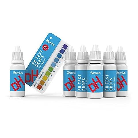 Qimius pH Test Kit, pH Tropftest, um pH im Wasser zu testen | 6-er Pack 50ml Flaschen | Inklusive pH-Skala und Test-Röhrchen