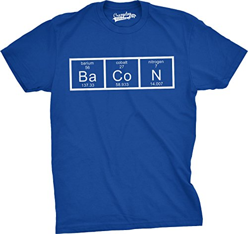 Tusgur Mens The Chemistry Of Bacon T Shirt Funny Periodic Table Tee