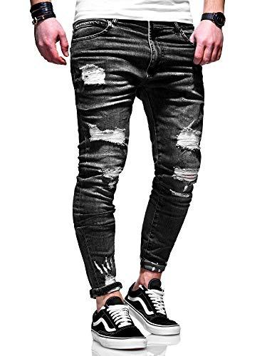 behype. Herren Destroyed Stretch Jeans-Hose Used 80-6376 Schwarz W32/L32