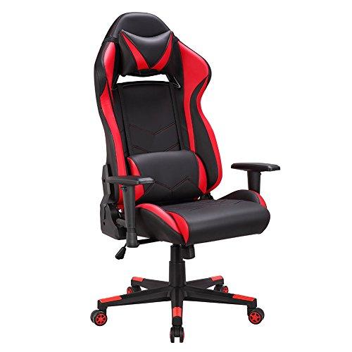 Leder Computer Schreibtisch Stuhl (Gaming Stuhl Chair,Schreibtischstuhl,ergonomisch Gamer Bürostuhl PU Leder Kunstleder,Computer Racing Stuhl mit verstellbarer Sitzhöhe,Gaming Sessel Rückenlehne kippbar(90-135°),PC Gamer Stuhl+Belastbarkeit bis 120kg (Rot/Schwarz))