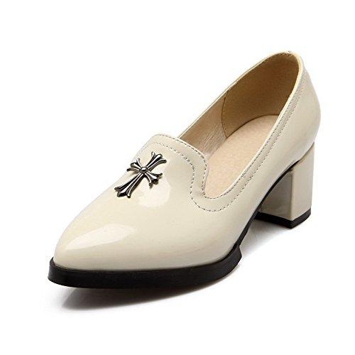 VogueZone009 Pointu Femme Chaussures Correct Beige à Tire Légeres Mosaïque Verni Talon xfwxqrH