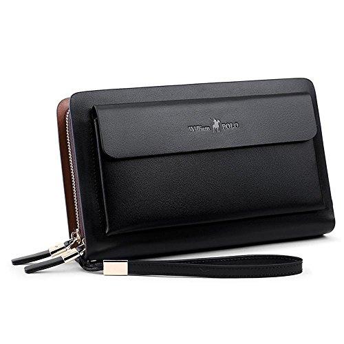 Haixin Leder Mann Tasche Handgelenk Tasche Mann schwarz Business Handtasche große Brieftasche Leder Tasche Geschäftsleute Hand Taschen -