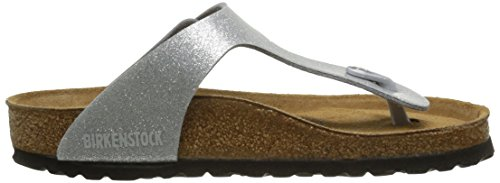 Birkenstock Gizeh Leder Softfootbed, Tongs mixte adulte Argent (Magic Galaxy Silver/Soft Footbed)