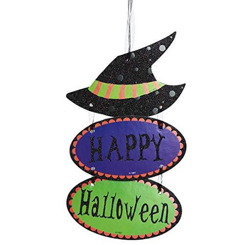 MOONQING Hexe Kürbis Halloween Hanging Tag Dekoration Fenster Hanging Tag Schmuck Anhänger DIY Home Party Handwerk Zubehör, Hexenhut, Größe 2