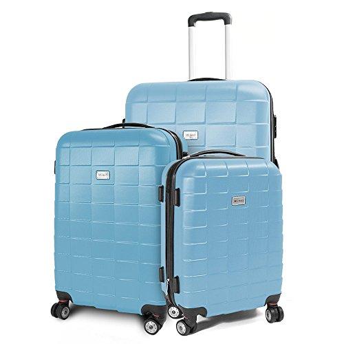 Kofferset 3-teilig Reisekoffer Koffer Trolley Hartschalenkoffer ABS Teleskopgriff Modell Squares (Himmelblau)