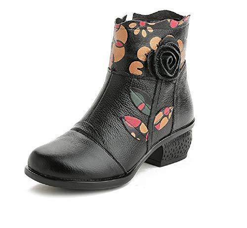 47f56be23f91b Fuxitoggo Botas Vintage Mujer Tobillo Estampado de Flores Zapatos Suaves  (Color   Negro