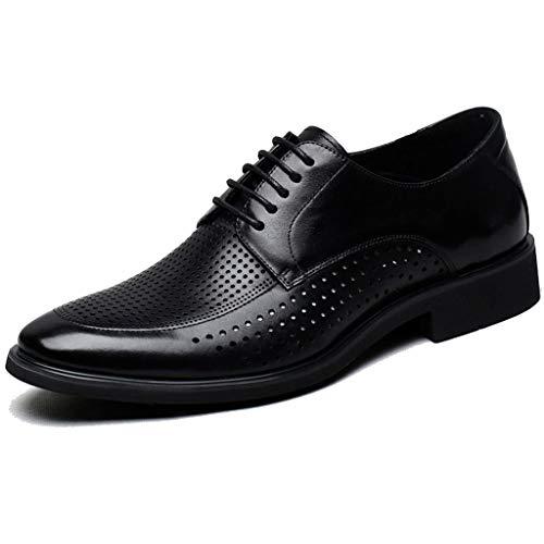 LIXIYU Herren Schnürschuhe Leder spitz Oxford Schuhe Hochzeit Büro formelle Schuhe schwarz braun Durchbrochene Schuhe schwarz braun Atmungsaktive Freizeitschuhe Business-Schuhe,Black-40 -