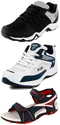 Ethics Men's White, Tan, Brown, Denim Blue Combo Of 3 Shoes- 2...