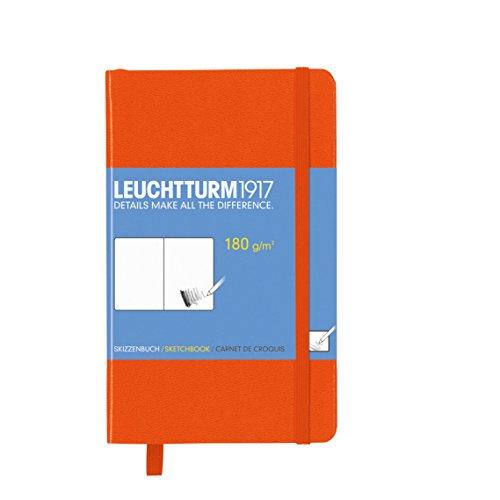 2 Skizzenbuch Pocket (A6, mit reinweißem, extra starkem 180 g/m² Papier, 96 Seiten) orange (Zeichen-buch-taschen)