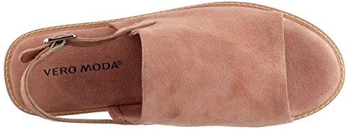 Vero Moda Vmmea Leather, Sandali con Cinturino alla Caviglia Donna Rosa (Shrimp)