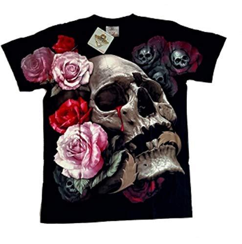 Rock Eagle T-Shirt Skull -Roses schwarz, Gr. M