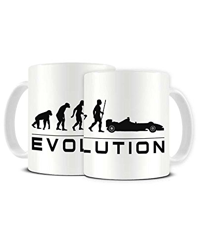 Funky NE Ltd Keramik-Kaffeetasse Evolution of a F1 Fan – Formel 1 – Motorsport – Teetasse – tolle Geschenkidee