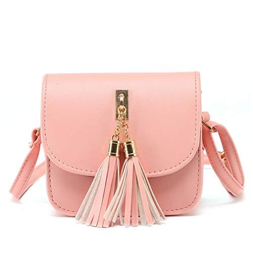 Rosa Leder Kupplung (LIXIAQ1 frauen Tasche Quaste Handtasche Umhängetasche Mode Einkaufstasche Taschen Leder Tote Bag Kupplungen Taschen, Rosa)