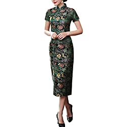 TTDRESS Women's Long Cheongsam Vestido largo chino de las mujeres Cheongsam Qipao Retro largo estampado de flores, verde , green , m