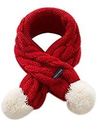 Topdo Bufanda de Lana Cruzar con Bufanda Caliente de Las Bebe Niño Niña Espesar Primavera Invierno Color Sólido Cómodo Infantil Bufanda 1 Pieza 68 * 8.5cm Rojo