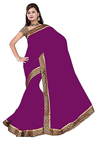 sarees (Floral trendz Chiffon Saree For Women With Brocade Lace Border and Blouse Piece)