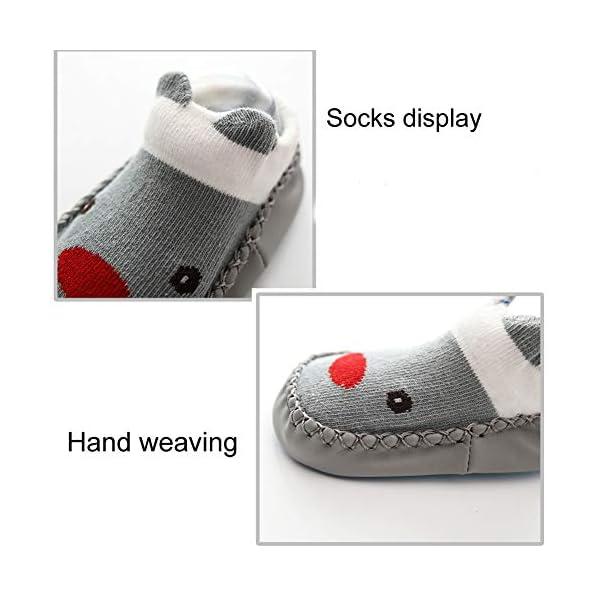 Happy Cherry 3Pcs Calcetines Prewalker para Recien Nacido Antideslizante Zapatillas de Piso Estampado Dibujo Animado… 4