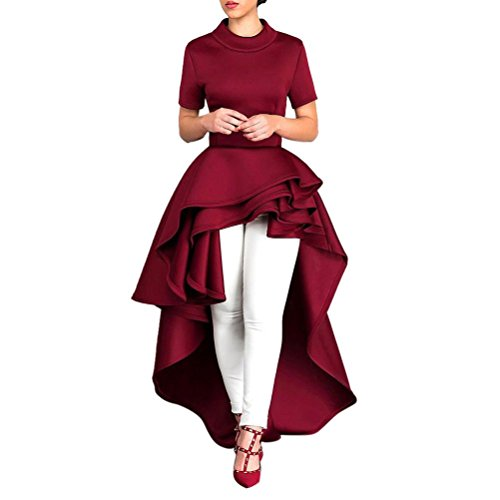 Resplend Frauen Mode Luftschicht Rüschen Party Kleid High Low Unregelmäßig Abendkleider Röcke Bodycon Party Club Kurzarm Kleider