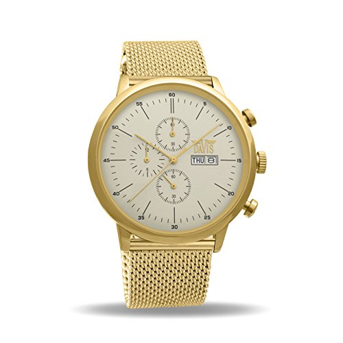 Davis 1954MB - Mens Sport Watch Classic Retro Yellow Gold Case Chronograph Waterresist 50M Day Date Mesh Milanese Strap