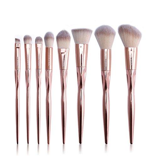 XT068 Cheveux De Fibre Pinceaux Maquillage x 8Pcs----HUI.HUI Pinceaux Sets Maquillage Brosse Make Up Pour Beauté Premium Fondation Mélange Blush Les LèVres Yeux Visage Poudre Cosmétiques (Or)